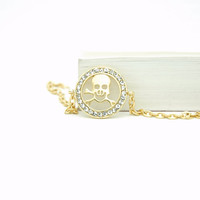 Gold Plated Swarovski Rhinestone Crystal Skull Bracelet , Gold plated Cross Chain , Round disk Bracelet, Mothers Day Gift Idea