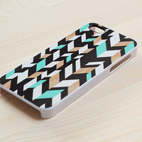 081. iPhone Case - Distorted Chevron Pattern, Mint &amp; Wood Accents - 4501