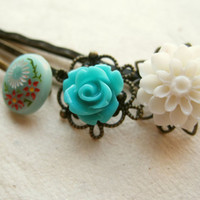 Mint Flower Hair Pins by PiggleAndPop