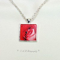Glass Tile Necklace, Photo Pendant Necklace, Red & White Rose Pendant Necklace, Glass Tile Jewelry