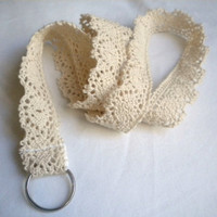 #lacelanyard #cream #girly #posh #lanyard #antiquelace #austen #lace Lace lanyard id badge holder keychain strap cream crochet