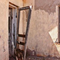 abandoned southwestern home open worn screen door 9x12 Route 66 photo