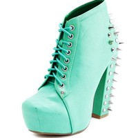 Spiked Back Thick Heel Bootie: Charlotte Russe