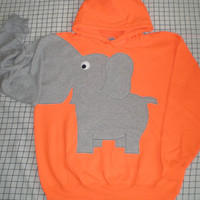 Elephant trunk sleeve HOODIE Flourescent Orange Unisex  XLarge
