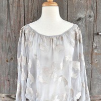 Language Silk Embroidered Peasant Blouse