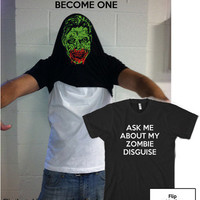 Zombie Disguise t shirt funny zombie shirt size by CrazyDogTshirts