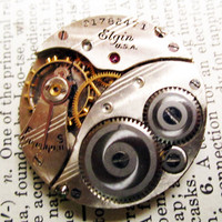 watch movement Vintage Elgin antique jeweled by InsomniaStudios