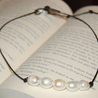 Freshwater Pearl Leather Necklace.  Rice Pearl Necklace.  Free Gift Wrap.