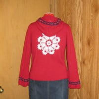 Red Button Up Upcycled Womens Hoodie with Vintage Trim and Crochet Applique