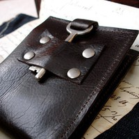 Men's Leather Wallet with Vintage Skeleton Key by urbanheirlooms