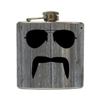 Aviator and Mustache Whiskey Flask Handlebar Fu by LiquidCourage