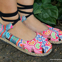 Womens Espadrille With Ankle Wrap Flat Shoe, Hmong Embroidery &amp; Batik,