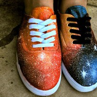 Custom Painted Blue Galaxy Shoes by KillerConstellations on Etsy