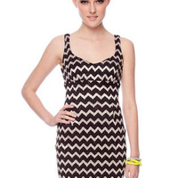 Zig Then Zag Tank Dress in Black and Cream :: tobi