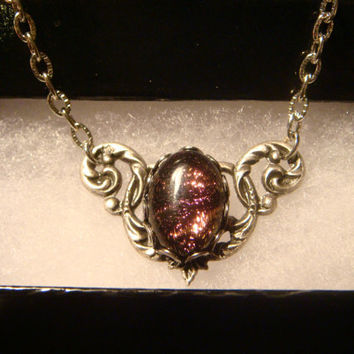 Victorian Style Dichroic Glass Necklace in Antique Silver (1025)