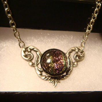 Victorian Style Dichroic Glass Necklace in Antique Silver (1026)