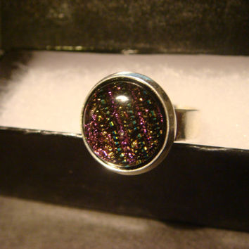 Silver Dichroic Glass Ring  - Adjustable (1027)