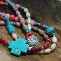 Turquoise Cross Beaded Necklace - OOAK