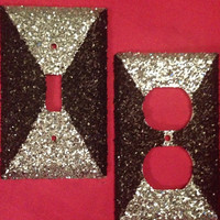Black and Silver Coarse Glittered Light Switch & Outlet Cover Set