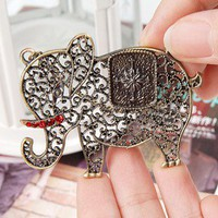 Vintage Hollowed-out Rhinestone Elephant Long Chain Necklace at Jewelry Store Gofavor
