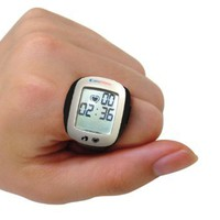 Carepeutic Kh249 Carepeutic Heart Rate Monitor Ring With Stopwatch, Clock, Calories, Pedometer, and Distance Display, White / Black: Health & Personal Care