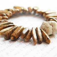 NEW Fashion, Jewelry Bracelet,  Natural Cream White Turquoise Bracelet,  Picture Jasper Stone Bracelet, Stack Bracelet, Boho Tribal