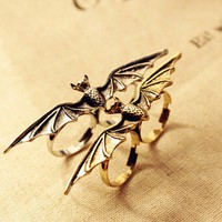 Vintage Adjustable Bat Double Ring at Online Vintage Jewelry Store Gofavor