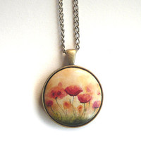 Lovely Poppy Wood Necklace, Pendant, Hand Painted Flower Jewelry, Small Painting of Poppies