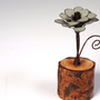 Sage Green Flower Organic Wood Stand Rustic Metal by merritthyde