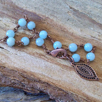 Amazonite Beaded Wire Wrapped in Copper - Bracelet -     Bohemian Courage and Hope