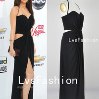 Halter Sweetheart Neckline Sexy Crystal Hemp Long Black Celebrity Dresses, Party Dress, Prom Dress, Sexy Dress
