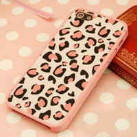[grhmf210008]Nice Pink Leopard Print Hard Cover Case For Iphone 4/4s