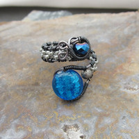 Deep Blue Glass  Wire Wrapped Gunmetal Adjustable Ring