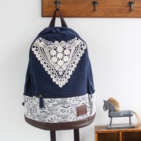 Preppy Style Canvas Backpack with Lace