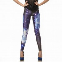 Blue Galaxy Color Printing Leggings Pants from Charming Galaxy