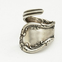 Spoon Ring Unique Victorian Organic Scroll Sterling by Spoonier