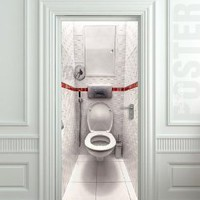 "Amazon.com: Wall Door STICKER toilet WC bathroom water closet poster, mural, decole, film 30x79"" (77x200 Cm): Home & Kitchen"