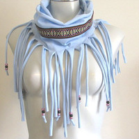 Fringe BohoT Shirt Necklace with beads, jersey infinity scarf, Light Blue with ethnic trim