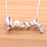 girlsluv.it - LOVE necklace with swarovski pearl necklace, 2colors