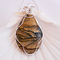 Owyhee Picture Jasper Wire Wrapped Pendant, Wire Wrapped Jewelry, Handmade