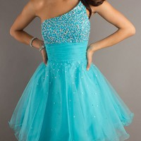 Beautiful Blue One Shoulder Short Graduation Dress