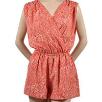 Surfing Safari Romper - Coral + White -  $48.00 | Daily Chic Dresses | International Shipping