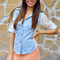 Sweet In Denim Top: Light Wash | Hope's