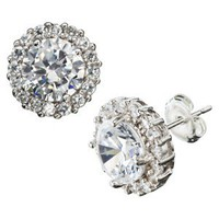 Silver Plated Cubic Zirconia Surround Round Stud Earrings