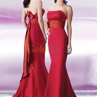 Red Mermaid Strapless Sash Satin Evening Dress