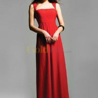 Red Annie Queen Neckline Chiffon Floor Length Evening Gown