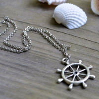 Ship's Wheel Necklace - Nautical - Summer Trends - Ocean - Under 20 - Antique Silver Chain
