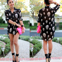 NWT BLACK CHIFFON WHITE SKULL HIGH LOW LS Top Blouse GOLD BUTTON UP ROCKER PUNK
