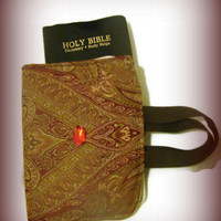 Fabric Bible Cover - Paisley Red Gold Brown