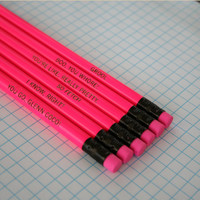 mean girls assorted engraved pencil set 6 hot pink pencils. hot hot pink. that's So fetch. I know right